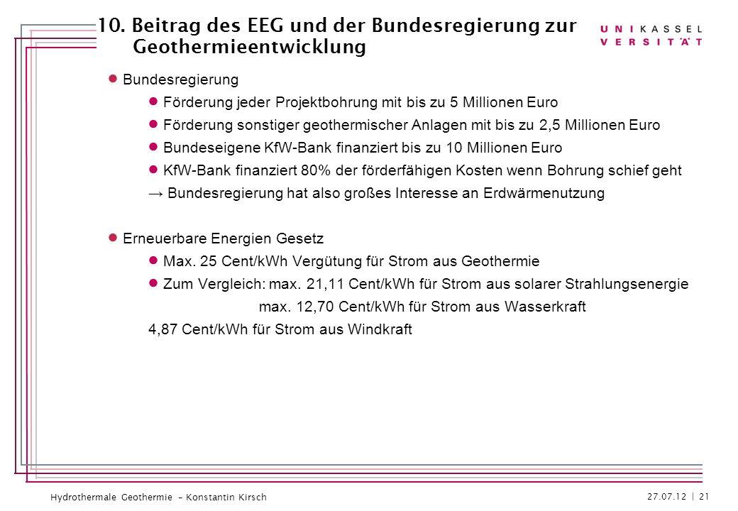 10. Beitrag des EEG und der Bundesregierung zur Geothermieentwicklung