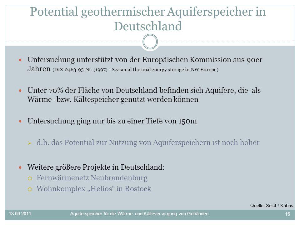 Potential geothermischer Aquiferspeicher in Deutschland
