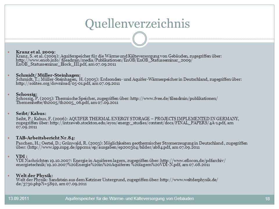 Quellenverzeichnis Kranz et al. 2009: