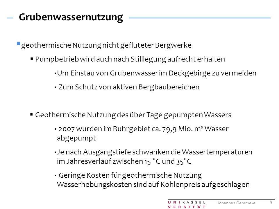 Grubenwassernutzung geothermische Nutzung nicht gefluteter Bergwerke