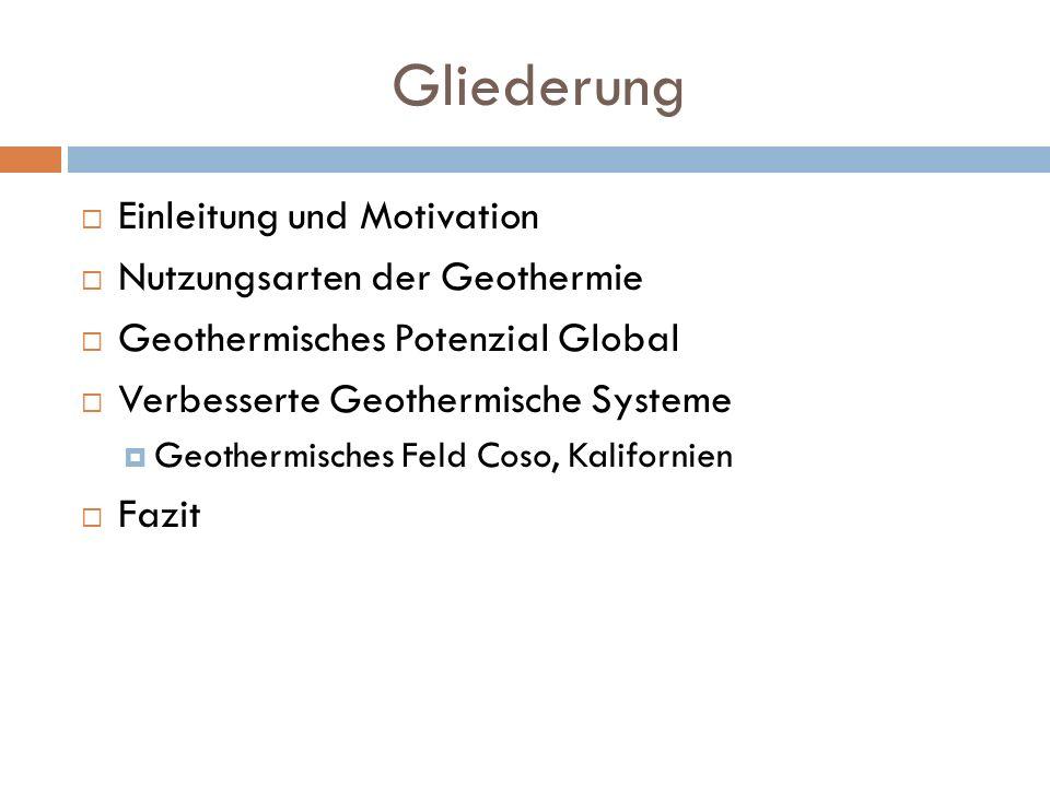 Gliederung Einleitung und Motivation Nutzungsarten der Geothermie
