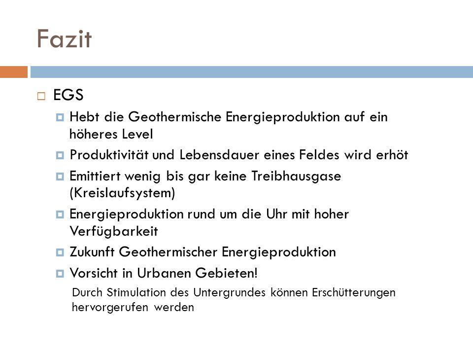 Fazit EGS. Hebt die Geothermische Energieproduktion auf ein höheres Level. Produktivität und Lebensdauer eines Feldes wird erhöt.