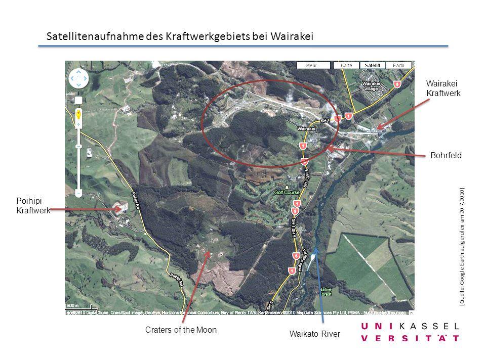 Satellitenaufnahme des Kraftwerkgebiets bei Wairakei