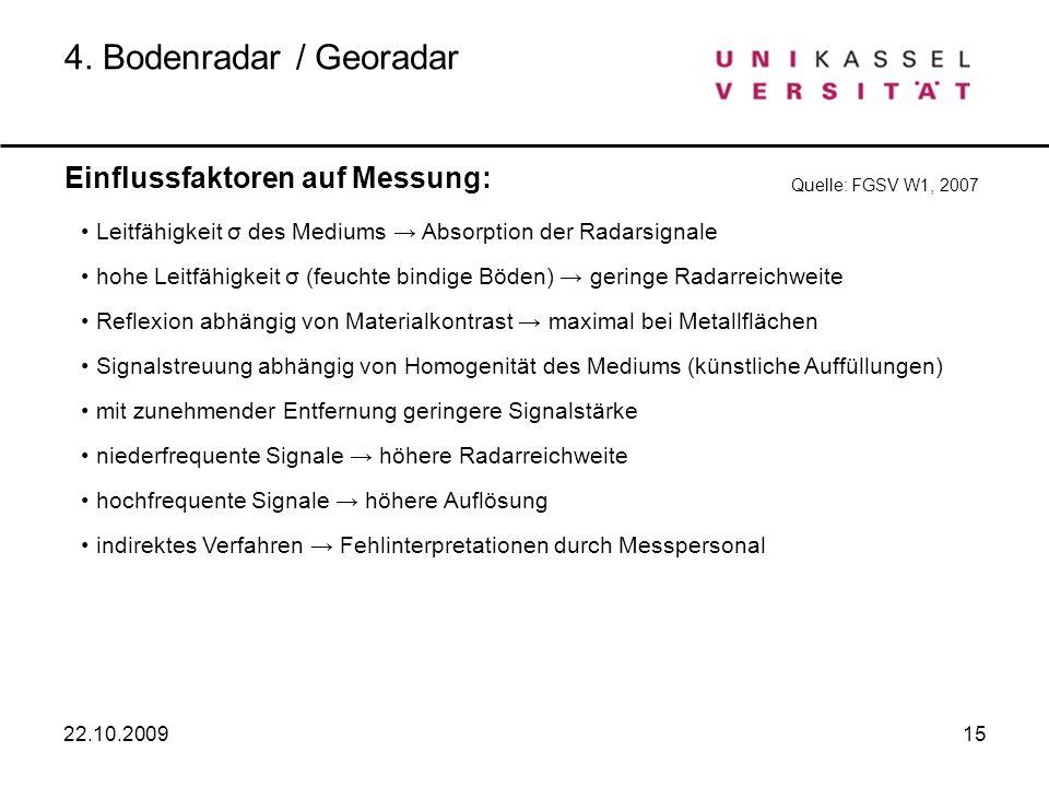 4. Bodenradar / Georadar Einflussfaktoren auf Messung: