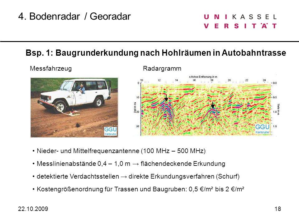 4. Bodenradar / GeoradarBsp. 1: Baugrunderkundung nach Hohlräumen in Autobahntrasse. Messfahrzeug. Radargramm.