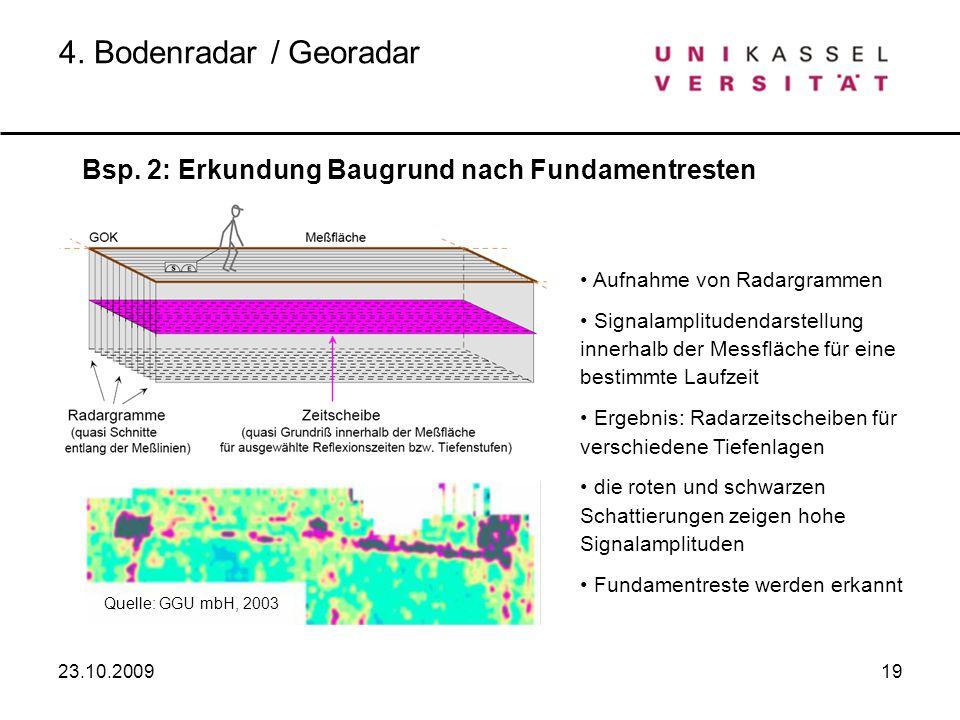 4. Bodenradar / Georadar Bsp. 2: Erkundung Baugrund nach Fundamentresten. Aufnahme von Radargrammen.