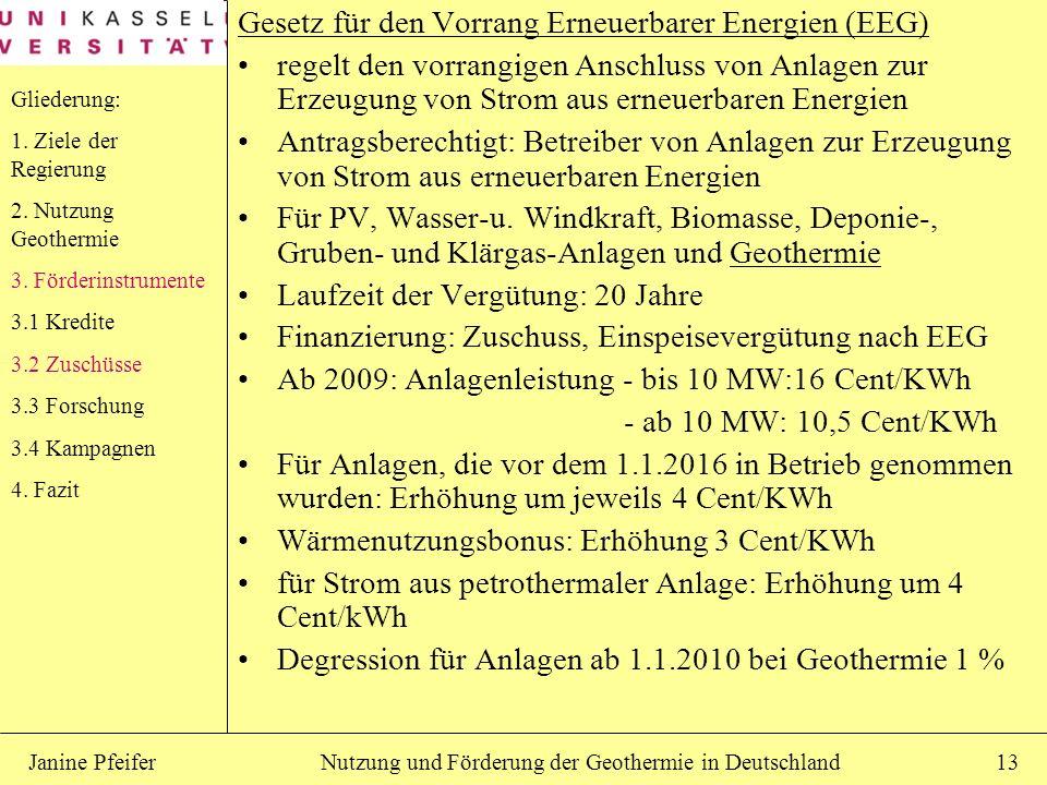Gesetz für den Vorrang Erneuerbarer Energien (EEG)