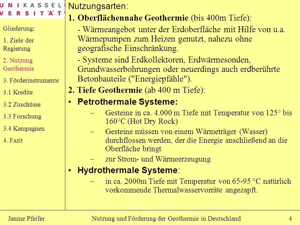 Oberflächennahe Geothermie (bis 400m Tiefe):