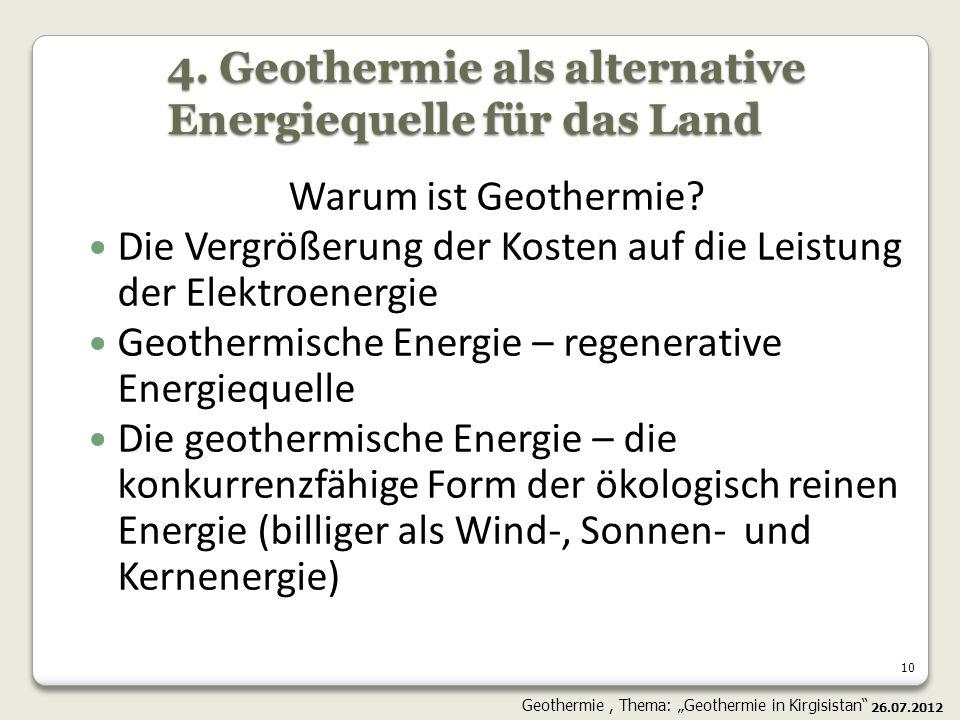 4. Geothermie als alternative Energiequelle für das Land