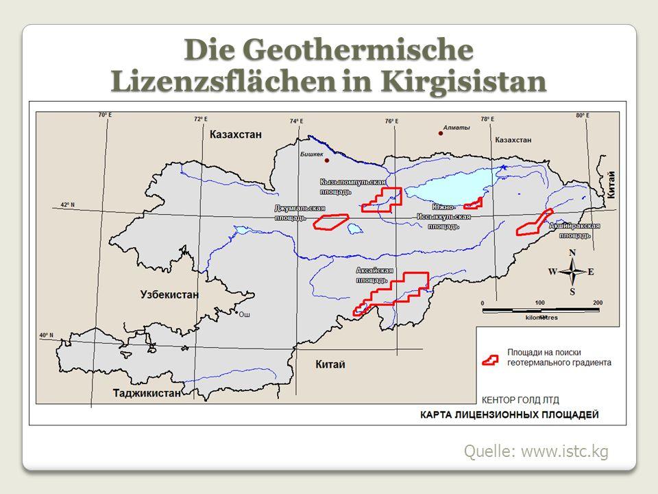 Die Geothermische Lizenzsflächen in Kirgisistan
