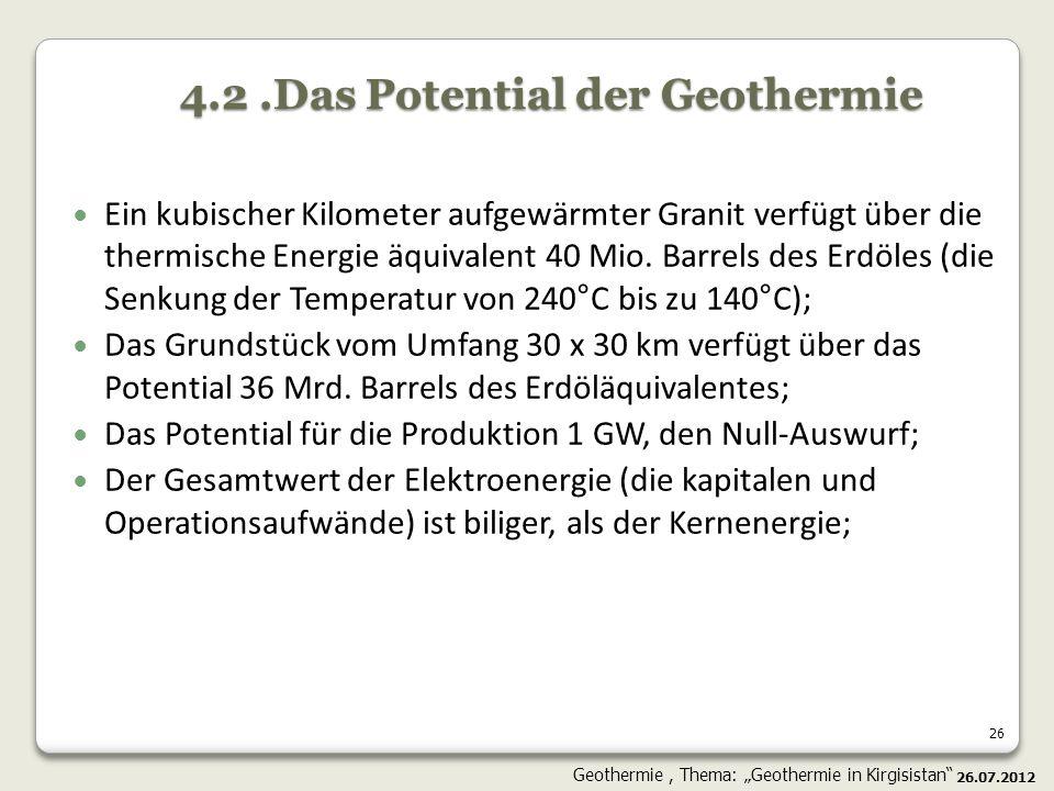 4.2 .Das Potential der Geothermie