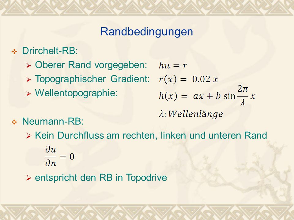 Randbedingungen Drirchelt-RB: Oberer Rand vorgegeben: