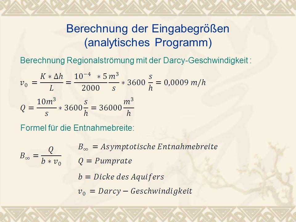 Berechnung der Eingabegrößen (analytisches Programm)
