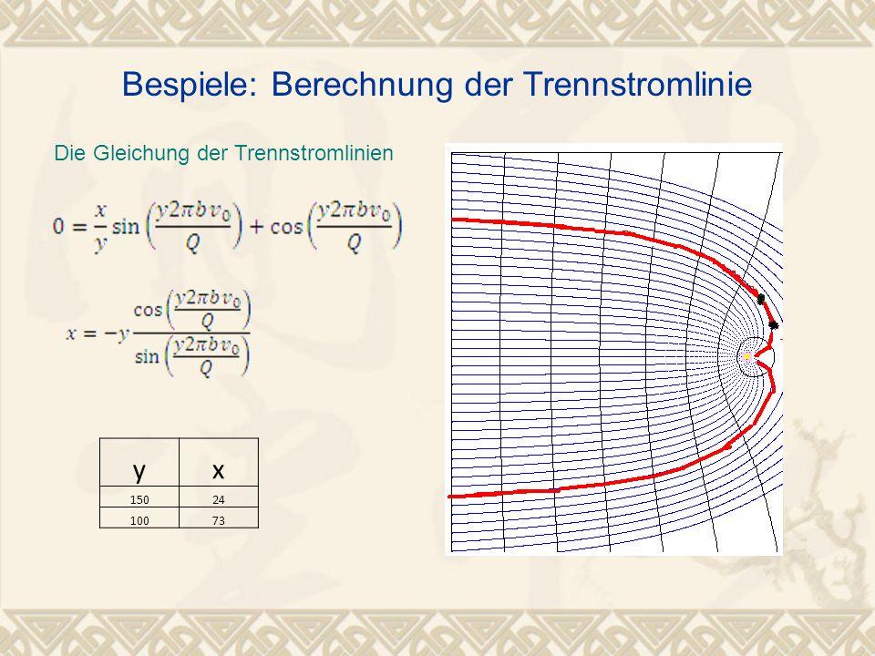 Bespiele: Berechnung der Trennstromlinie