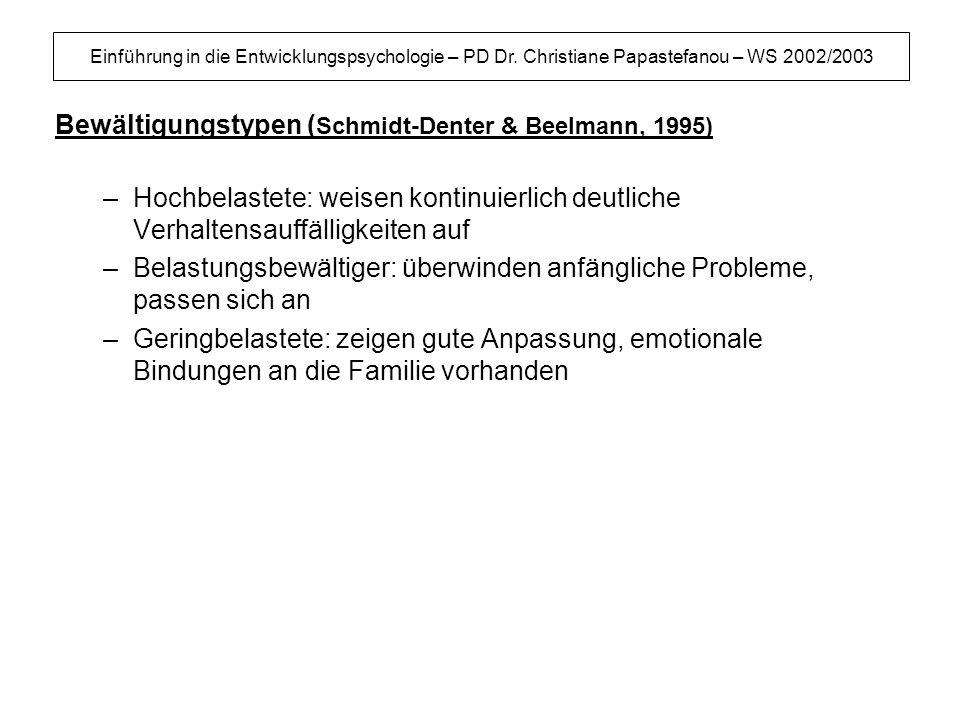 Bewältigungstypen (Schmidt-Denter & Beelmann, 1995)