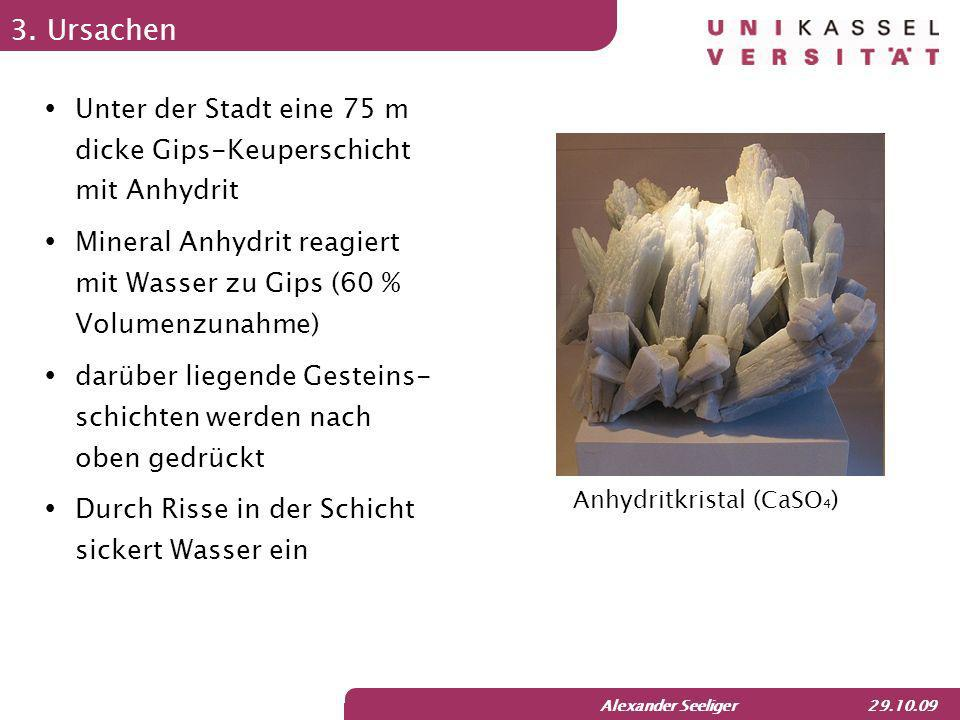3. Ursachen Unter der Stadt eine 75 m dicke Gips-Keuperschicht mit Anhydrit. Mineral Anhydrit reagiert mit Wasser zu Gips (60 % Volumenzunahme)
