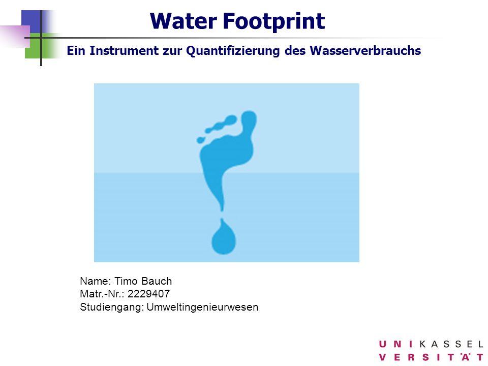 *Water Footprint Ein Instrument zur Quantifizierung des Wasserverbrauchs. 16.07.1996.