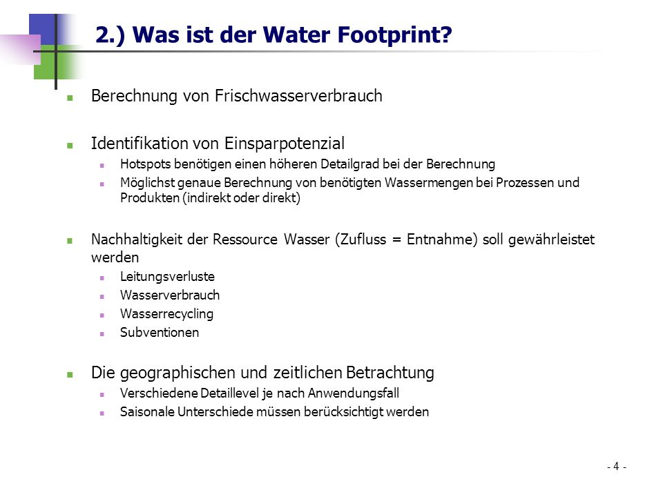 2.) Was ist der Water Footprint