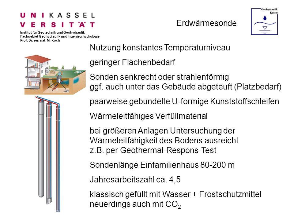 Nutzung konstantes Temperaturniveau geringer Flächenbedarf
