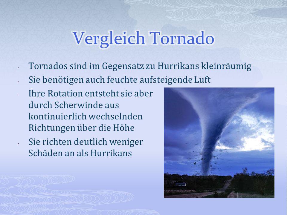 Vergleich Tornado Tornados sind im Gegensatz zu Hurrikans kleinräumig