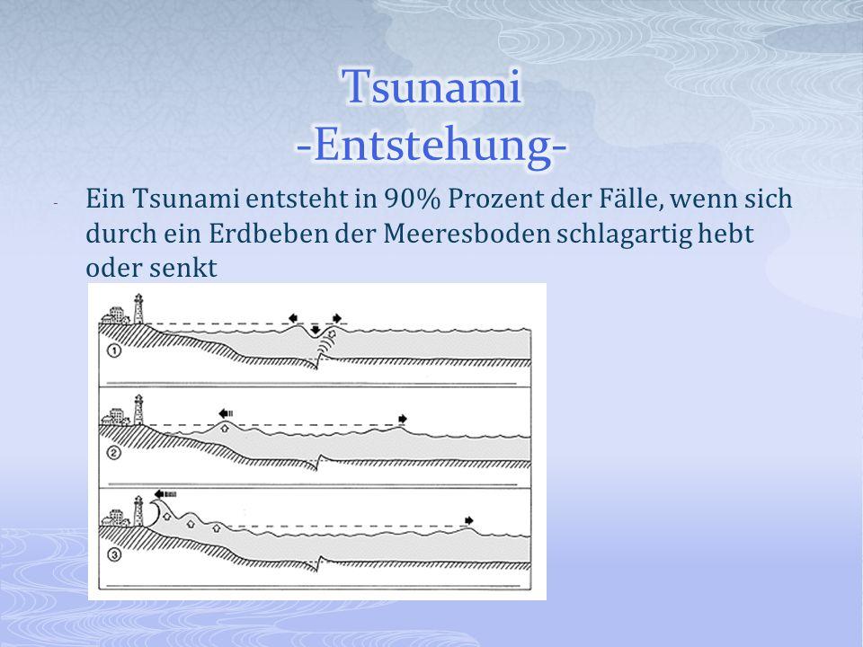 Tsunami -Entstehung- Ein Tsunami entsteht in 90% Prozent der Fälle, wenn sich durch ein Erdbeben der Meeresboden schlagartig hebt oder senkt.
