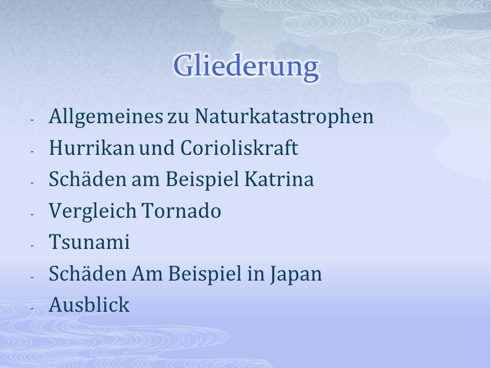 Gliederung Allgemeines zu Naturkatastrophen Hurrikan und Corioliskraft