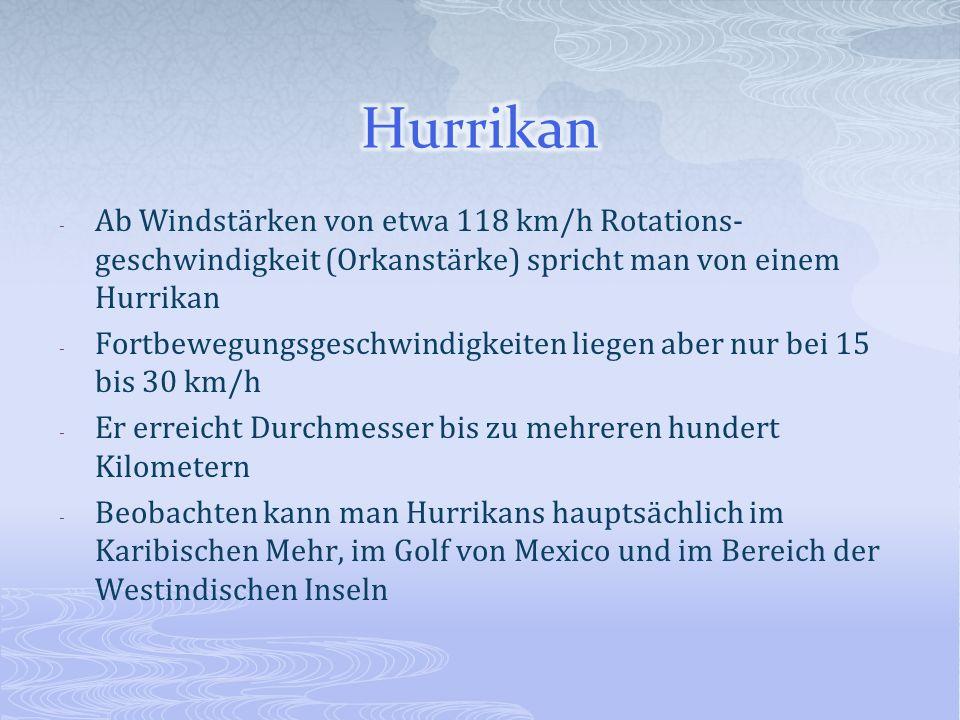 Hurrikan Ab Windstärken von etwa 118 km/h Rotations-geschwindigkeit (Orkanstärke) spricht man von einem Hurrikan.