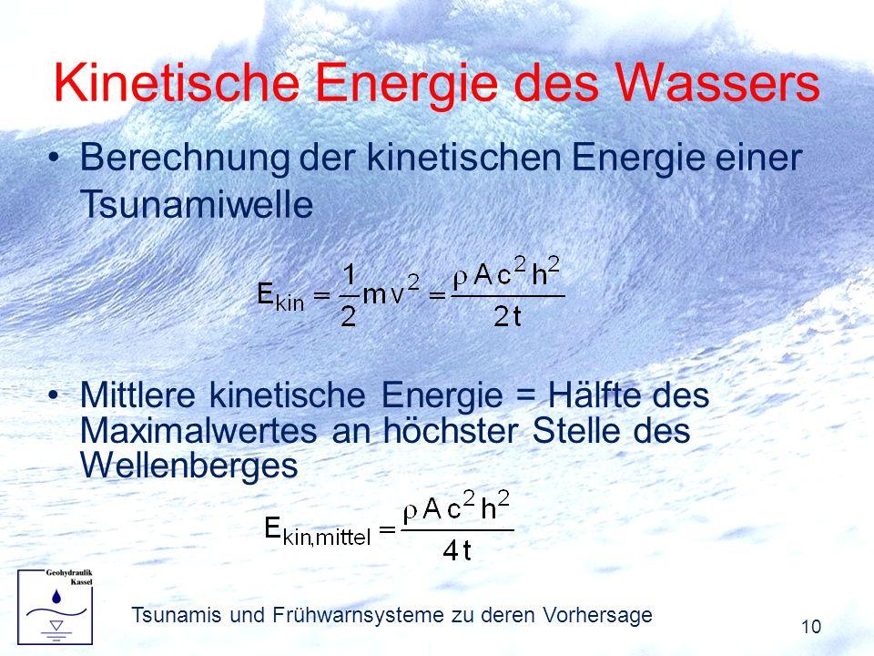 Kinetische Energie des Wassers