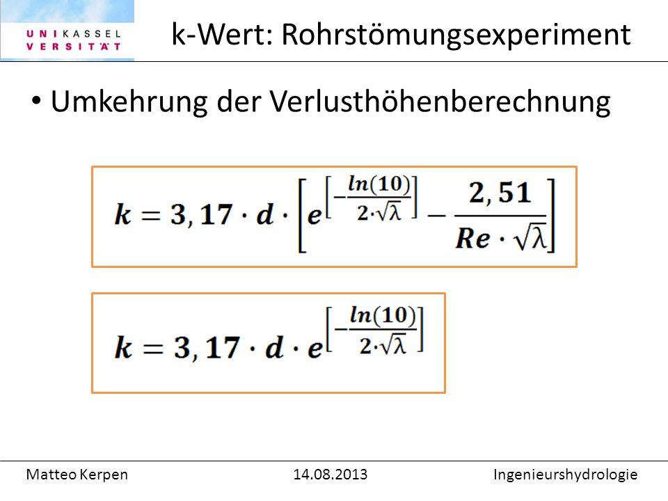 k-Wert: Rohrstömungsexperiment