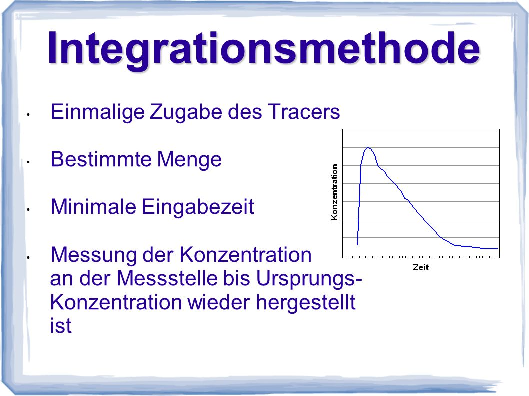 Integrationsmethode Einmalige Zugabe des Tracers Bestimmte Menge
