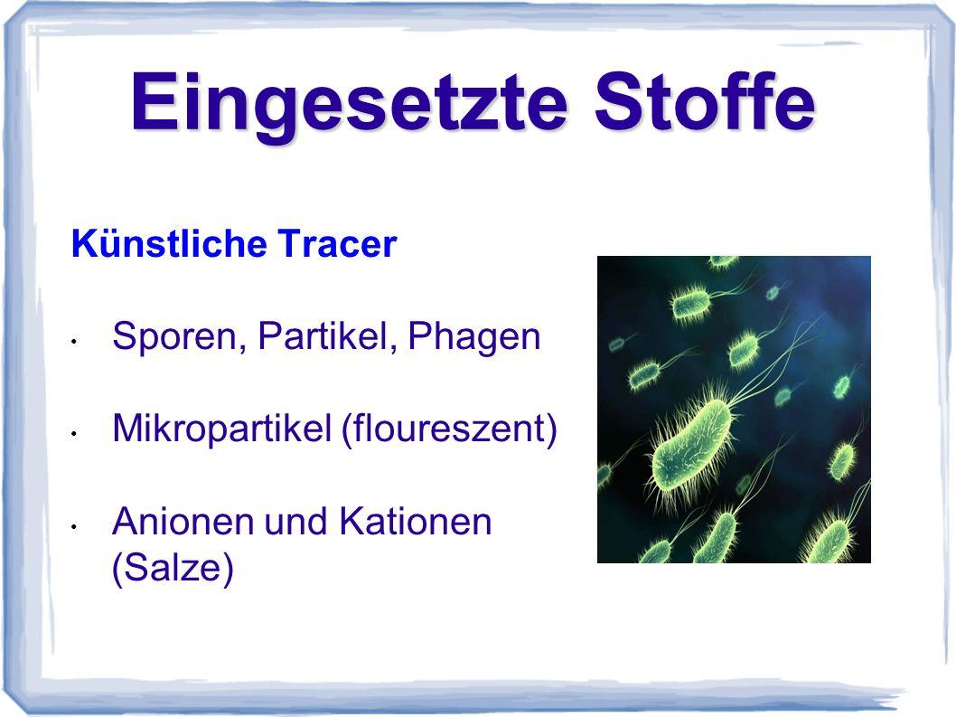 Eingesetzte Stoffe Künstliche Tracer Sporen, Partikel, Phagen