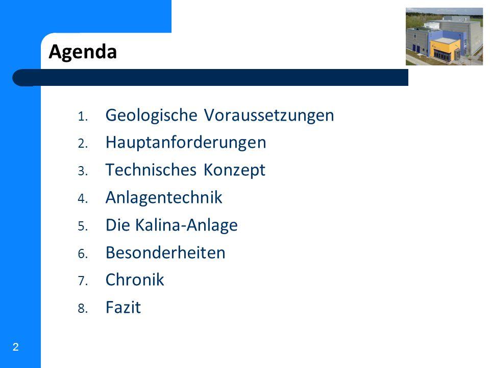 Agenda Geologische Voraussetzungen Hauptanforderungen