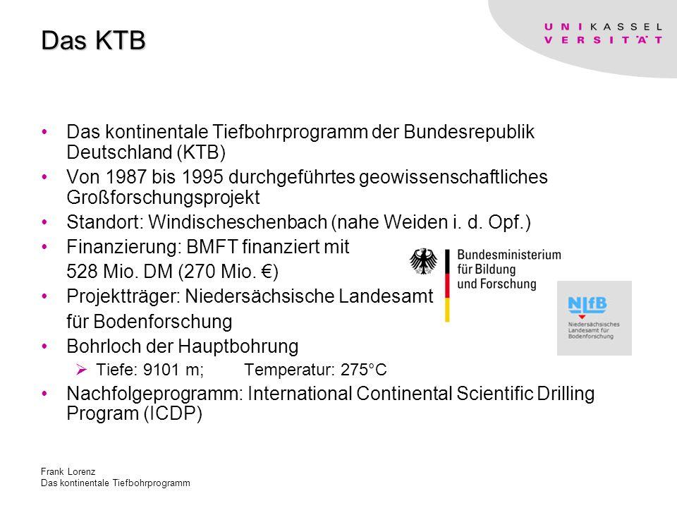 Das KTB Das kontinentale Tiefbohrprogramm der Bundesrepublik Deutschland (KTB)