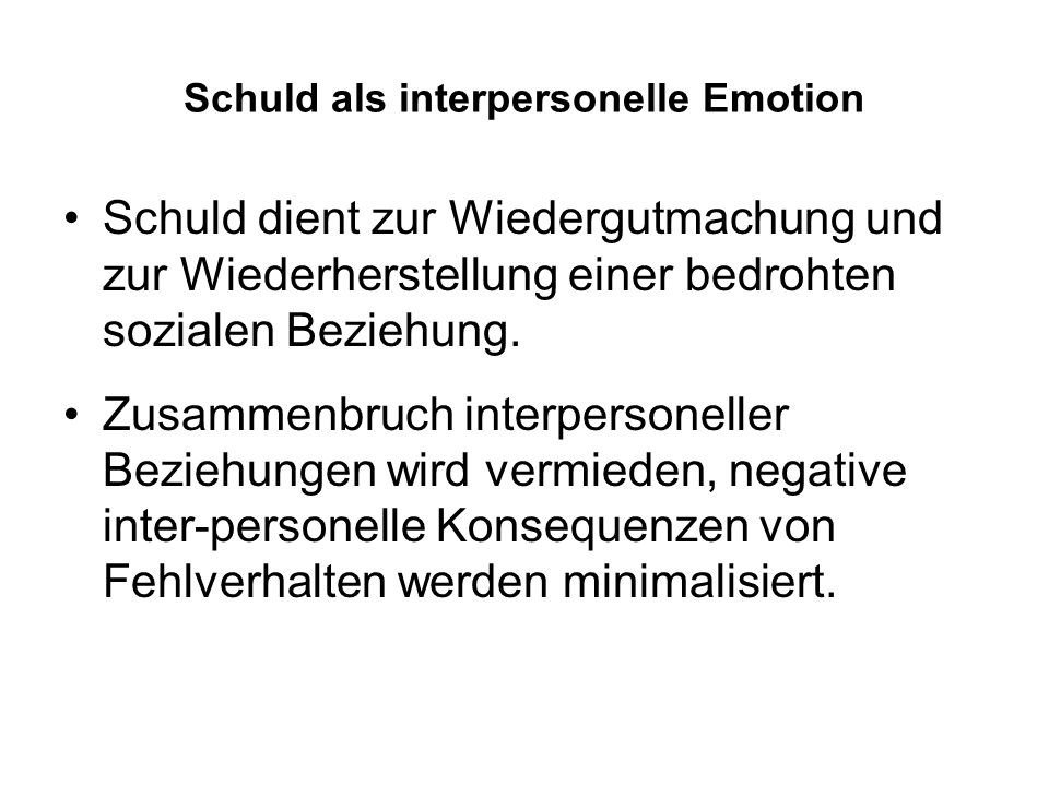 Schuld als interpersonelle Emotion