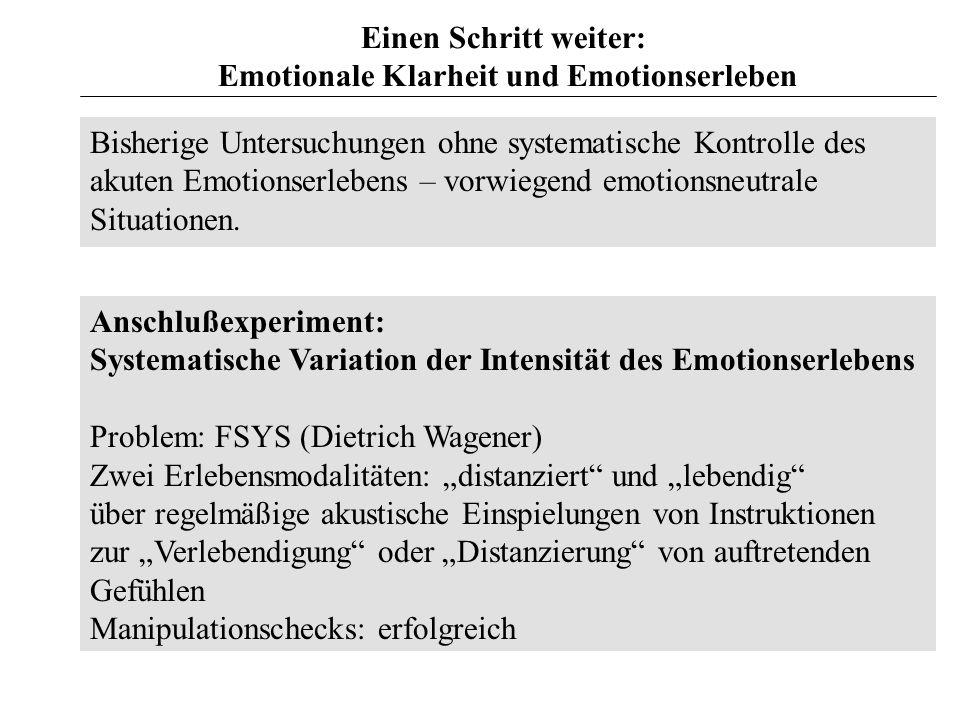 Emotionale Klarheit und Emotionserleben