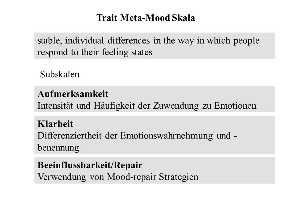 Trait Meta-Mood Skalastable, individual differences in the way in which people respond to their feeling states.