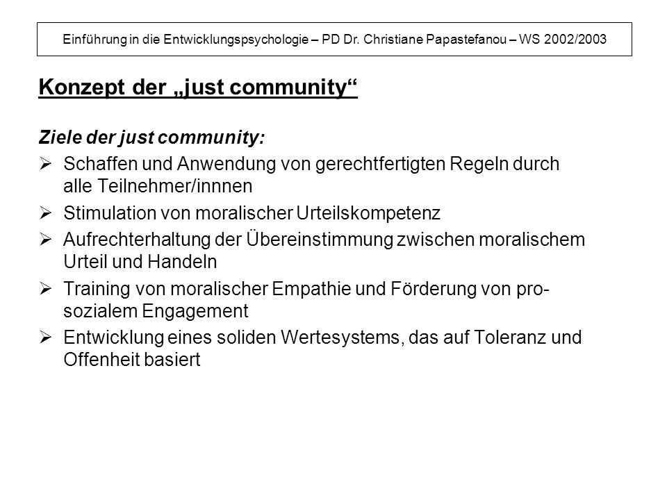 "Konzept der ""just community"