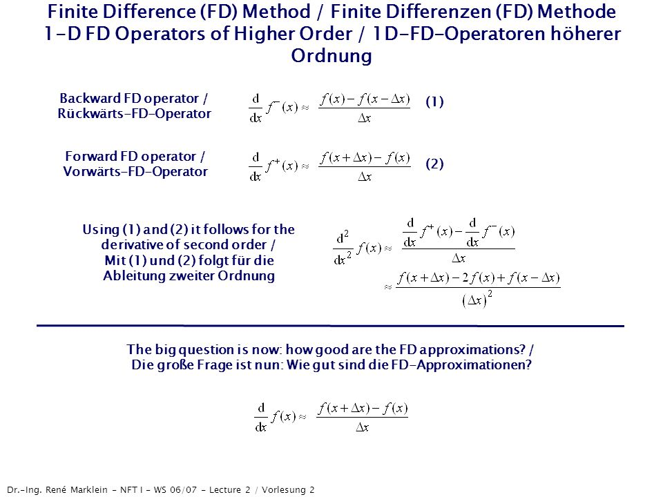 Finite Difference (FD) Method / Finite Differenzen (FD) Methode 1-D FD Operators of Higher Order / 1D-FD-Operatoren höherer Ordnung