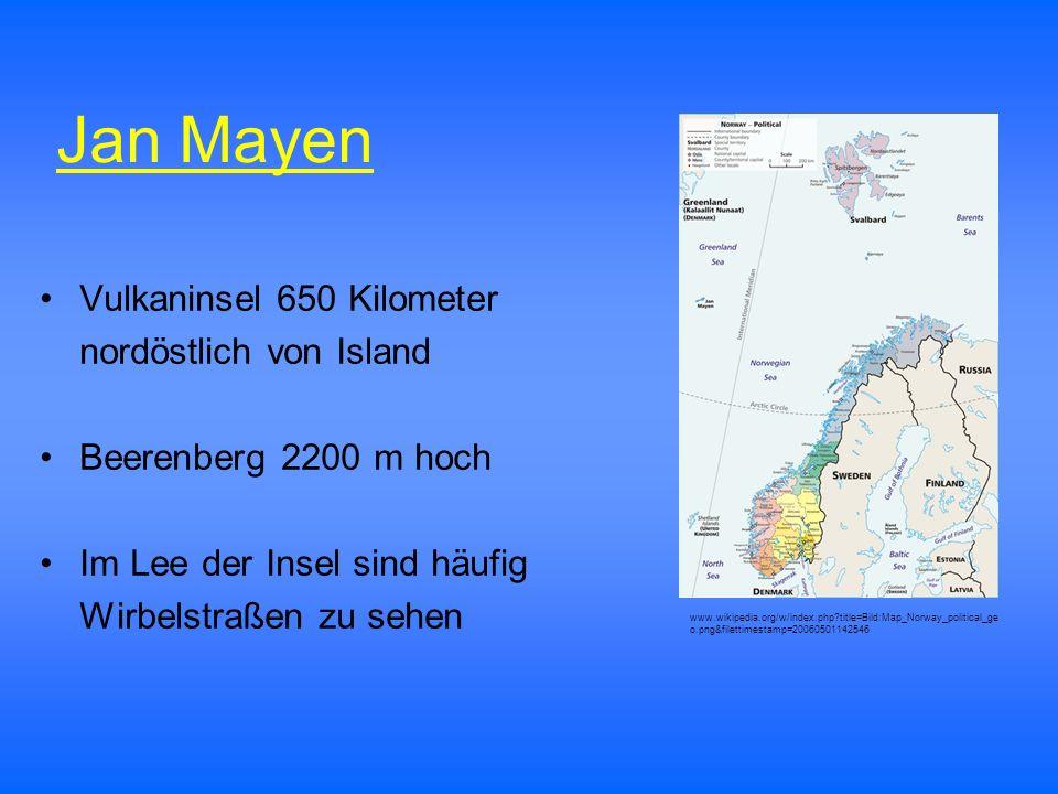 Jan Mayen Vulkaninsel 650 Kilometer nordöstlich von Island
