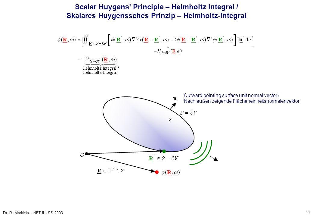 Scalar Huygens' Principle – Helmholtz Integral / Skalares Huygenssches Prinzip – Helmholtz-Integral