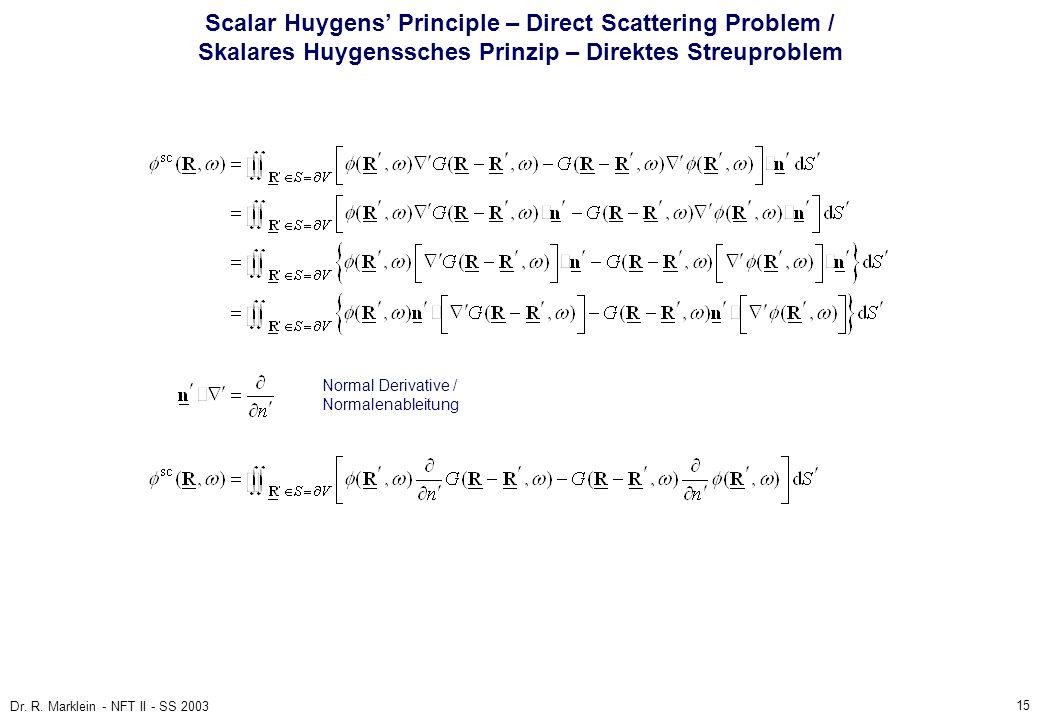 Scalar Huygens' Principle – Direct Scattering Problem / Skalares Huygenssches Prinzip – Direktes Streuproblem