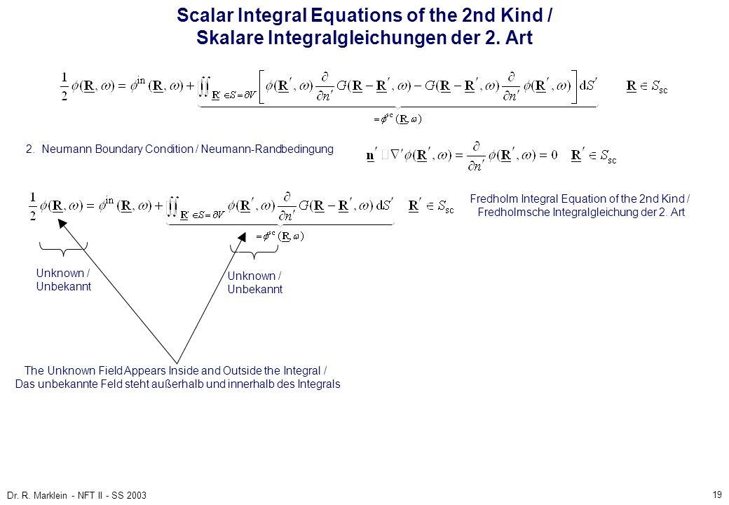 Scalar Integral Equations of the 2nd Kind / Skalare Integralgleichungen der 2. Art