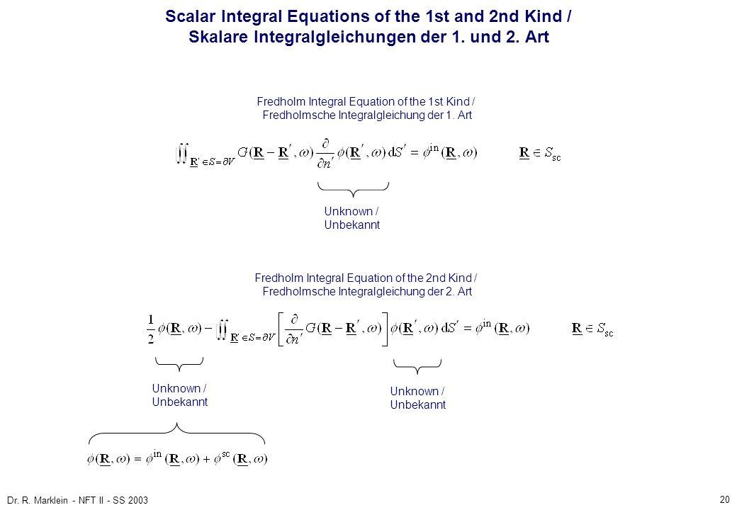 Scalar Integral Equations of the 1st and 2nd Kind / Skalare Integralgleichungen der 1. und 2. Art