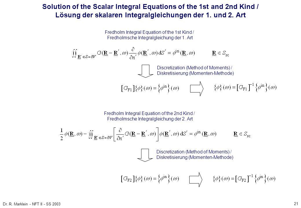 Solution of the Scalar Integral Equations of the 1st and 2nd Kind / Lösung der skalaren Integralgleichungen der 1. und 2. Art