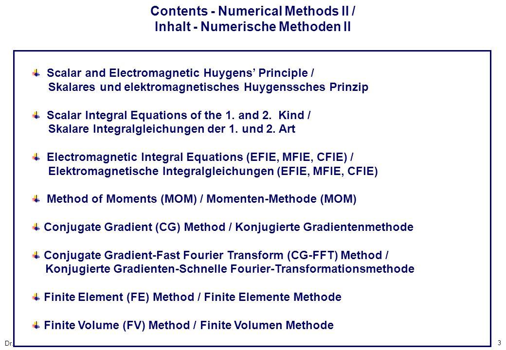 Contents - Numerical Methods II / Inhalt - Numerische Methoden II