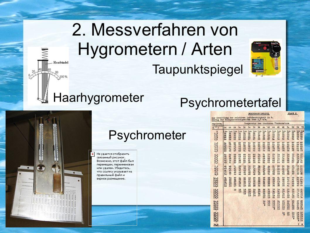 2. Messverfahren von Hygrometern / Arten