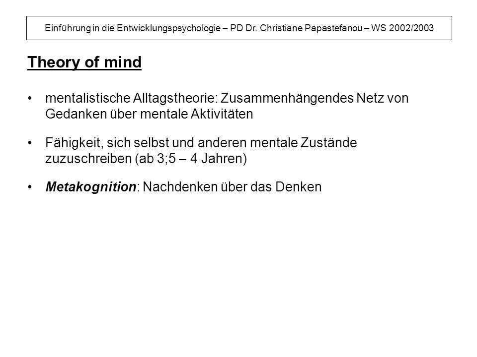 Theory of mind mentalistische Alltagstheorie: Zusammenhängendes Netz von Gedanken über mentale Aktivitäten.