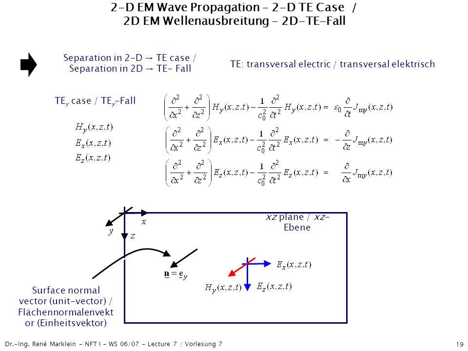2-D EM Wave Propagation – 2-D TE Case / 2D EM Wellenausbreitung – 2D-TE-Fall
