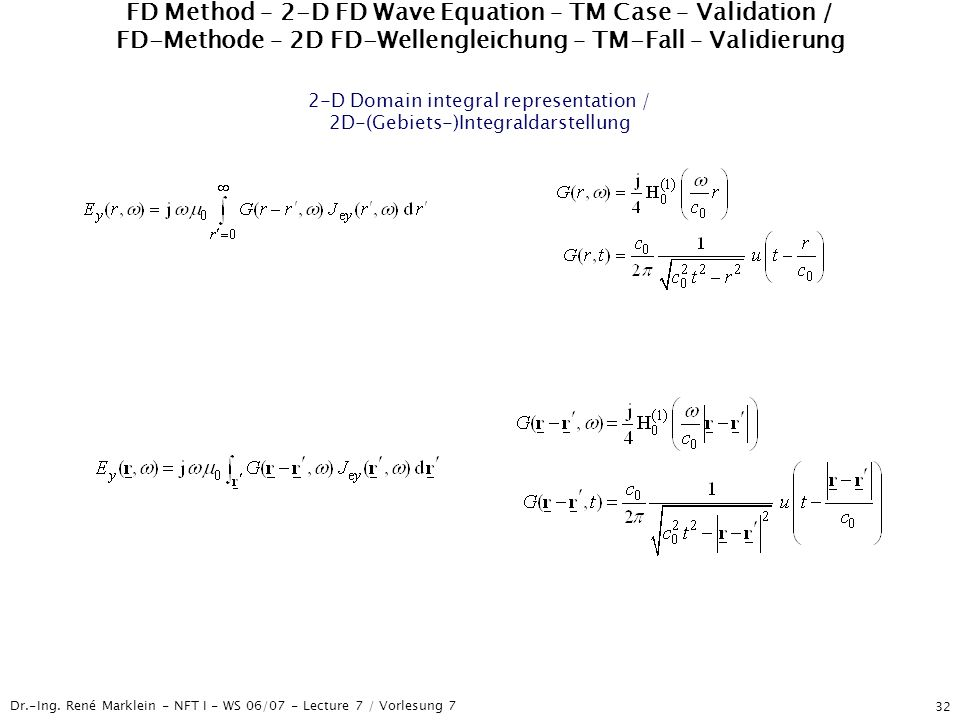 FD Method – 2-D FD Wave Equation – TM Case – Validation / FD-Methode – 2D FD-Wellengleichung – TM-Fall – Validierung