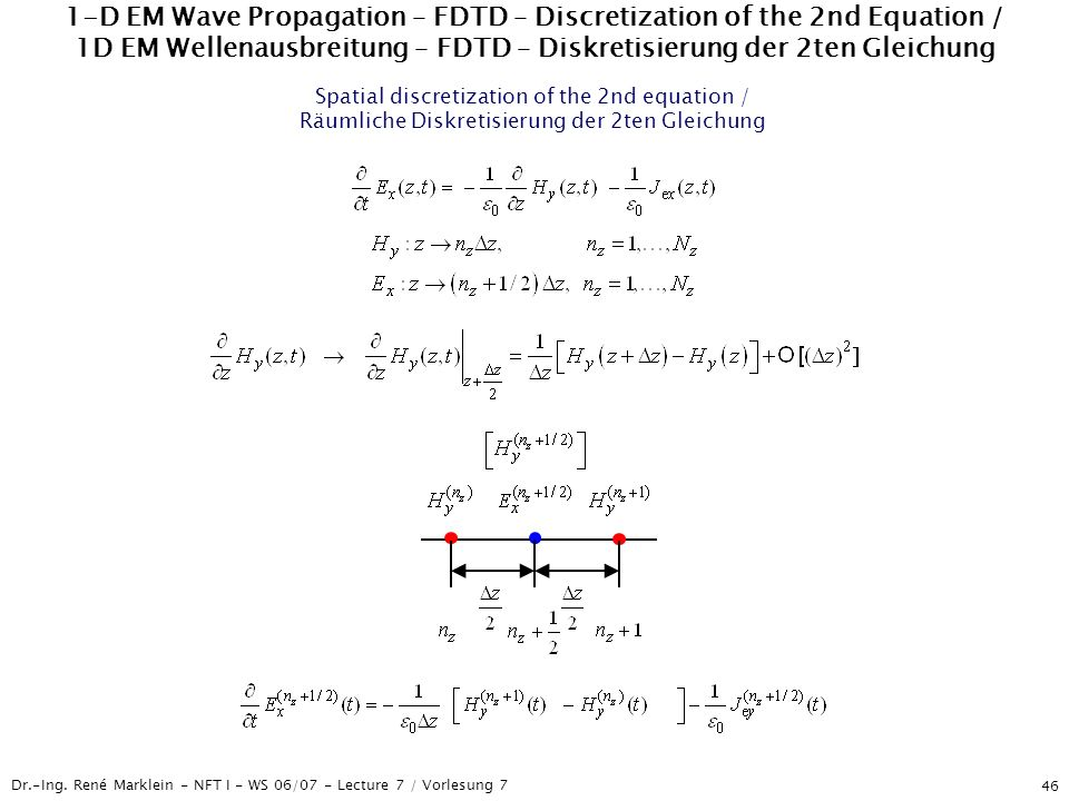 1-D EM Wave Propagation – FDTD – Discretization of the 2nd Equation / 1D EM Wellenausbreitung – FDTD – Diskretisierung der 2ten Gleichung